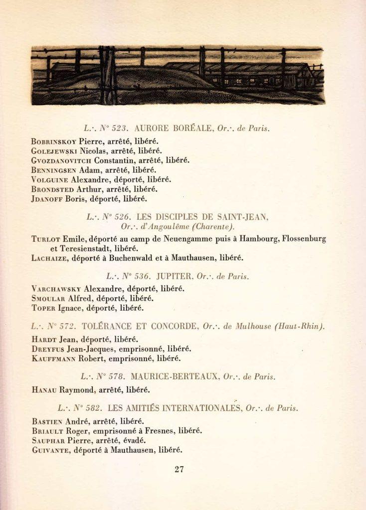 список масонов, пострадавших в войне