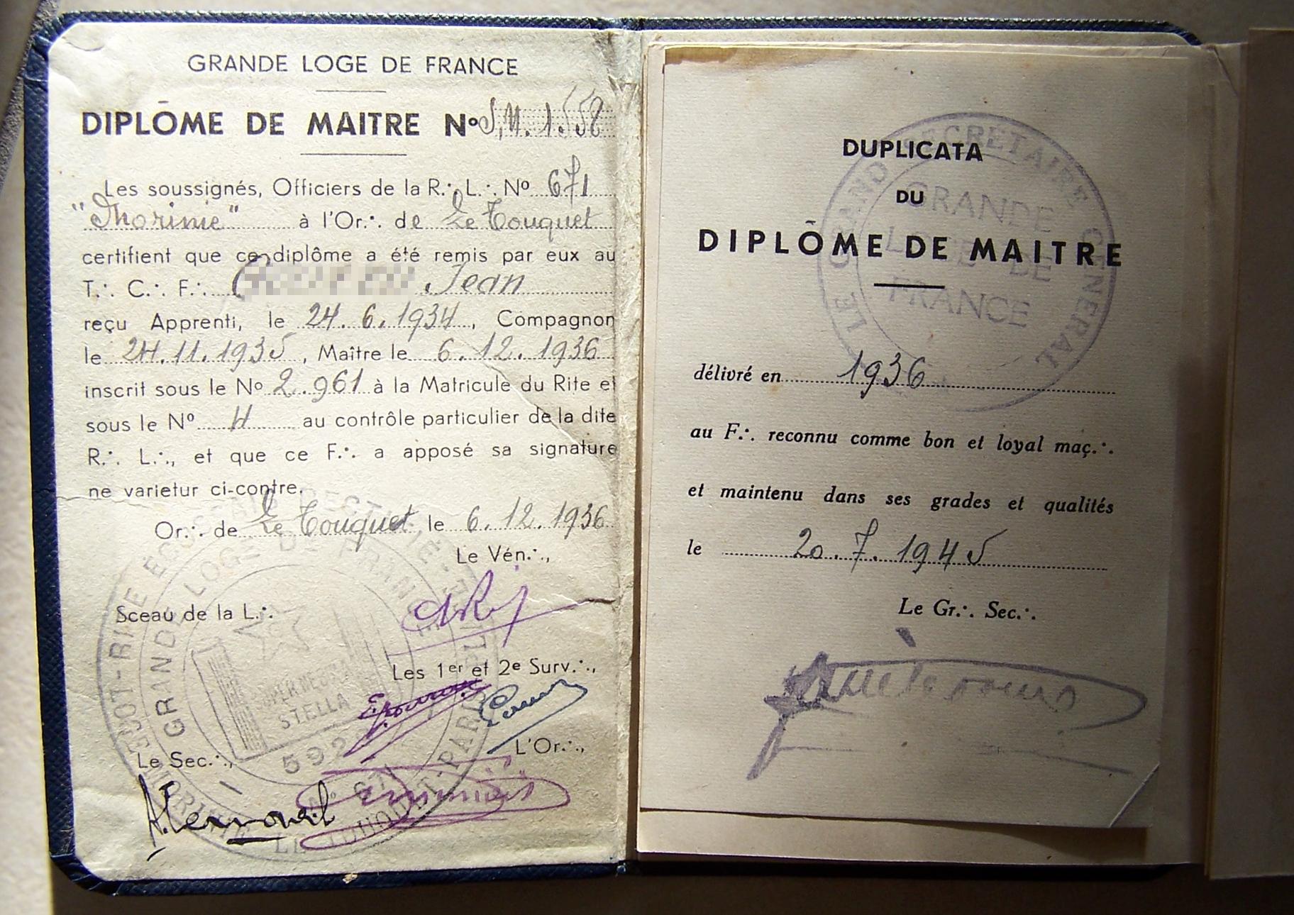 Титульный лист диплома мастера Великой ложи Франции